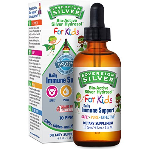 Sovereign Silver Bio-Active Silver Hydrosol For Kids for Daily Immune Support - 10 ppm, 4oz (118mL) – Dropper-Top Drops