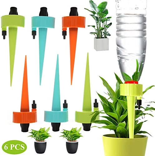 Automatic Plant Self Watering Devices Spikes Irrigation Drippers with Slow Release Control Valve Switch for Vacation to Care Your Home Plants, Flower beds, Vegetable Gardens, Lawn (6PCS)
