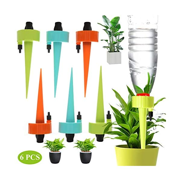 DFYOU Plant Watering Devices Adjustable Automatic Plant Self Waterer Spikes System with Constant Release Control Valve Switch for Vacation Drip Irrigation Home Plants, Flower beds (6 PCS)