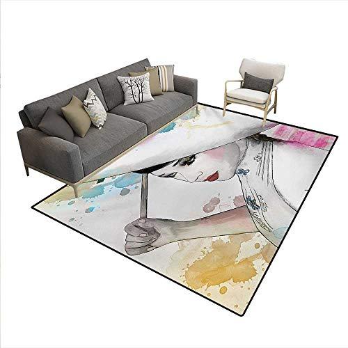7' Oriental Umbrella - Carpet,Eastern Woman Girl Oriental Umbrella Drawing Watercolor Brushstrokes,Customize Rug Pad,Multicolor,6'x7'