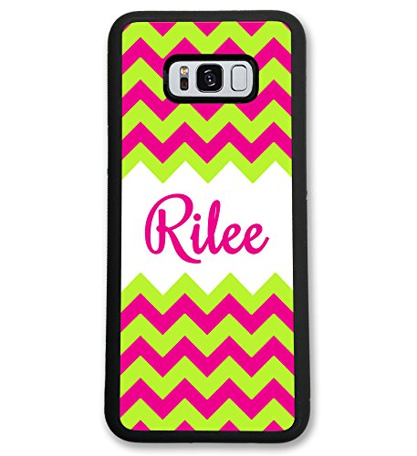 Simply Customized Case Compatible with Samsung Note8 Note 8 Hot Pink Lime Green Chevrons Monogram Monogrammed Personalized