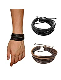 Lisli 4 Pcs Fashion Women/Men Surfer Tribal Wrap Multilayer Leather Cuff Bracelet Hand Wear Accessory