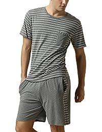 Dolamen Mens Pyjamas Short Set, Mens Stripes Couples Nightwear Sportwear