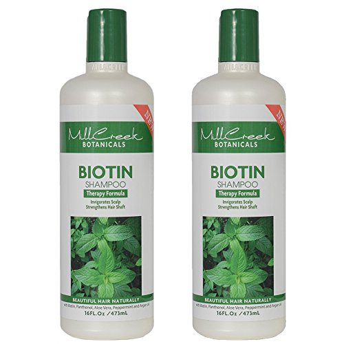 Mill Creek Biotin Shampoo With Keratin, Peppermint Oil, Aloe Vera, Jojoba and Panthenol, All Natural and Organic Formula, 16 fl. oz. (Pack of 2)