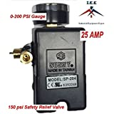 25 AMP Air Compressor Pressure Switch 4 Port 95-125 PSI w/ Back Mount 0-200 PSI Gauge 150 PSI pop off valve