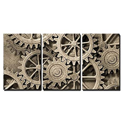 a Mechanical Background with Gears and Cogs x3 Panels, Premium Product, Stunning Design