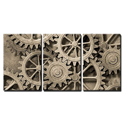 "wall26 - 3 Piece Canvas Wall Art - a Mechanical Background with Gears and Cogs - Modern Home Decor Stretched and Framed Ready to Hang - 24""x36""x3 Panels"