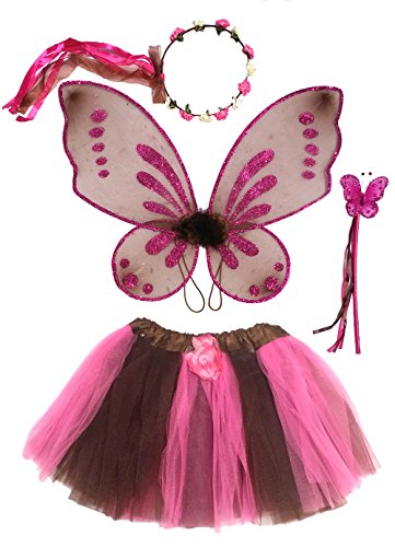 Enchantly Girls Fairy Costume Brown, Pink with Rosebud Halo, Wand, Pixie Wings, Tutu 4-10