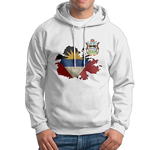 Men's Adult Print Coat Of Arms Of Antigua And Barbuda Flag Map & National Emblem Long Sleeves Hoodies Hooded Sweatshirt Pullover Sweater, Cotton Hooded Jumpsuits Suit For (Antigua Cotton Sweatshirt)