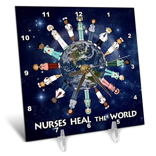 - 3dRose dc_79459_1 Nurses Heal The World Planet Earth with Male and Female Nurses of All Cultures Circling The Globe Desk Clock, 6 by 6