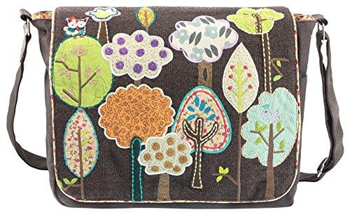 Canvastasche Umhängetasche SET - 3-teilig -bestehend aus Umhängetasche-Kosmetiktasche -kleine Geldbörse mit Eule Blumen Tiere Baum Forrest