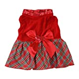Colorfulhouse Bow-knot Christmas Pet Costume Plaid Skirt Dog Clothes Santa Dog Dress (L)