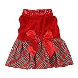 Urparcel Bow-knot Christmas Pet Costume Plaid Skirt Dog Clothes Santa Dog Dress L