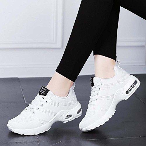 Chaussures de Sport Occasionnels Respirant Chaussures de Sport Femmes Nouvelles Chaussures à Bascule Maille d'été Noir/Rose/Rouge/Blanc Taille 35-40 Blanc KMvVcmH