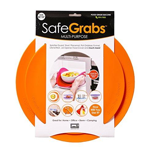 Safe Grabs Seen on Shark Tank: Multi-Purpose Silicone Microwave Mat, BPA Free Kitchen Tool, Set of 2, Orange