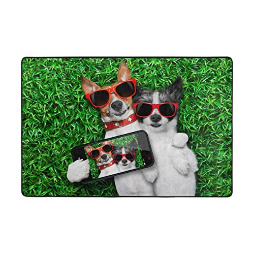 Doormat Front Door Mats Outdoor Inside Mats Personalized Welcome Mats with Sunglasses Puppy Pattern for Chair Mat and Decorative Floor Mat for Office and Home (36 x 24 in & - Hours Sunglass Hut