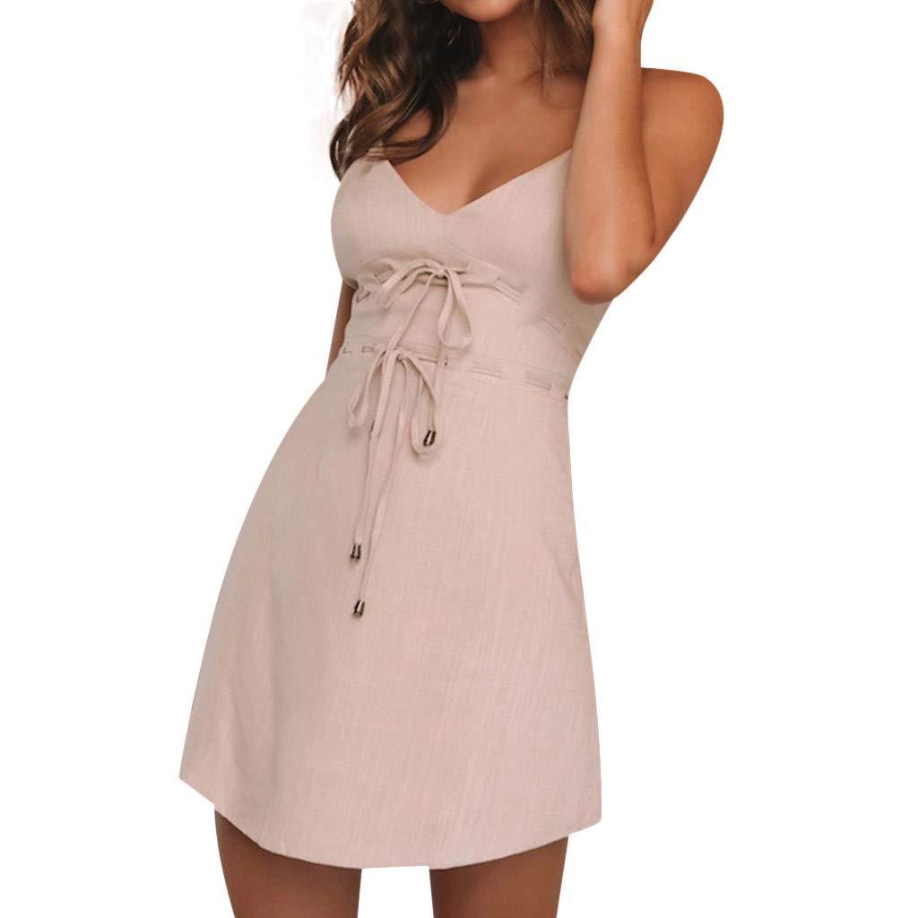 Pgojuni Women's Sliod Casual Summer Deep V-Neck Backless Sleeveless A Line Beach Party Mini Dress Tie Pink