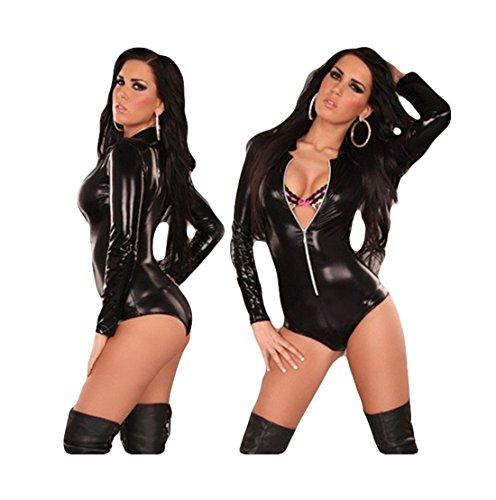 Sexy Body Suits for Women Erotic Leotard Costumes Bodysuit Catsuit (Black)