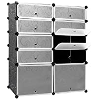 Leoneva Portable Shoe Storage Organzier Tower, Cube Shoe Rack Multi-Functional Modular Cabinet Shelving Plastic Shoe Cabinet with Doors for Shoes, Boots, Slippers