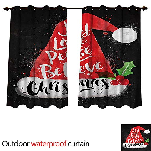 cobeDecor Santa 0utdoor Curtains for Patio Waterproof Xmas Hat with Lettering W55 x L45(140cm x 115cm) -