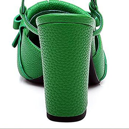 Baotou Noir Tête Escarpin Jaune 5 UK5 à Printemps Taille Le Chaussures Talons à Jaune et Hauts CN38 2018 Couleur épais d'été Mode Vert Glands EU38 Femmes MUMA Talons Sandales Vert Sandales carrée PBPwq