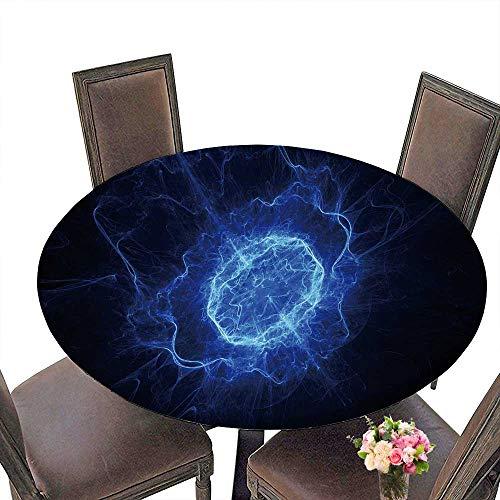 PINAFORE Elasticized Table Cover Blue Energy Oval Shape Fractal Machine Washable 40