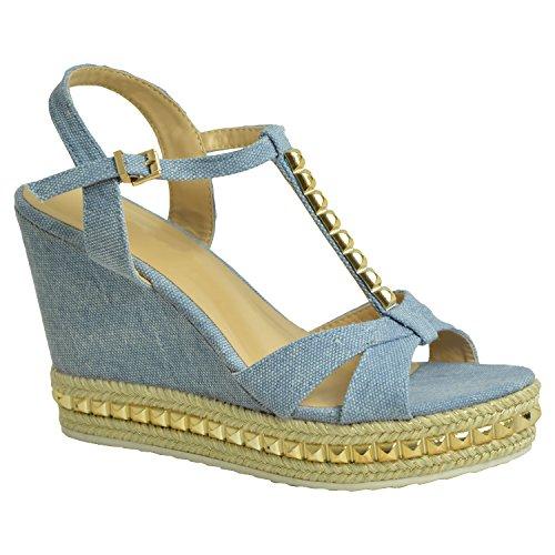 Azul Con Fashion Mujer Tacón Zapatos Claro Cucu pXwFp