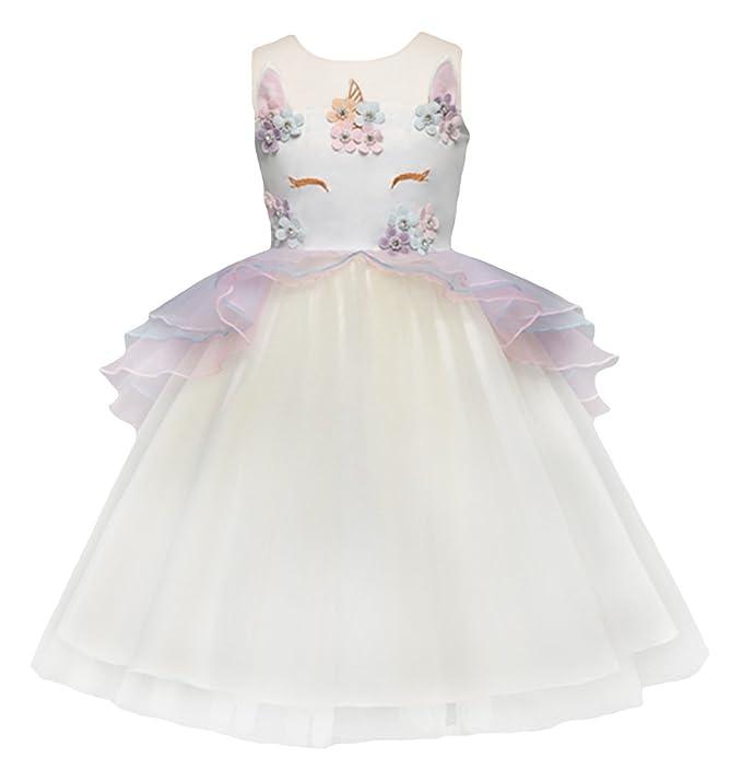 GEMVIE Vestido Niña Tul sin Mangas Princesa Disfraz Fiesta Unicornio con Flores Amarillo Talla 100/
