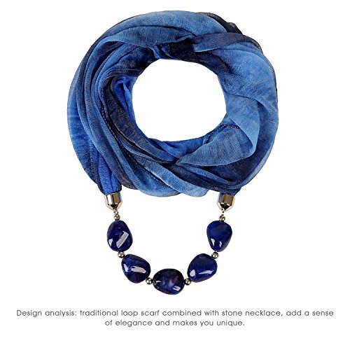 LERDU Women Soft Nice Touch Infinity Cabric Blue Scarves Large Marble Stones Jewelry Scarf Necklaces (Navy blue)