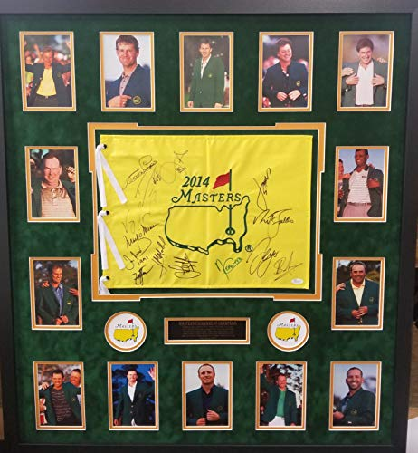 Jordan Spieth Mark O'Meara Angel Cabrera Adam Scott (14) Total Signed Autograph MASTERS FLAG Framed Photo Suede Matting JSA Certified