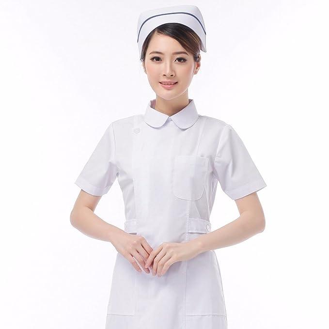 Xuanku Enfermera Doctor Vestir De Blanco De Manga Corta De Verano Llevar Abrigo Blanco Overoles Dentista Servicio De Farmacia Servicio De Enfermeria, XXL, ...