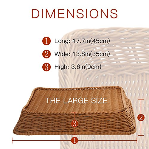 15.7'' Poly-Wicker Bread Basket-YOLOGOSUN Woven Tabletop Food Fruit Vegetables Serving Basket, Restaurant Serving,Brown (3 PACK) by YOLOGOSUN (Image #1)