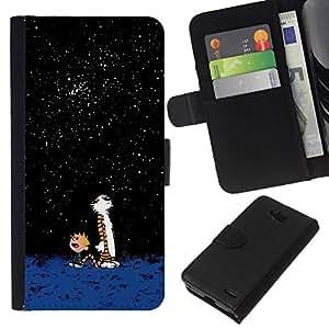 All Phone Most Case / Oferta Especial Cáscara Funda de cuero Monedero Cubierta de proteccion Caso / Wallet Case for LG OPTIMUS L90 // Awe Cartoon Cute Tiger Calvi Hobb