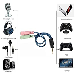 ENVEL 3.5mm Jack Cable Headset Adapter Kit Mutual Convertors for Laptop,Mac,PS4,Smartphone,Xbox One,Tablet Earphone with Headphone/Microphone Simultaneously Y Splitter Audio 2 Female to 1 Male