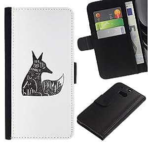 For HTC One M8,S-type® Wolf Wild Animal Rights Quote Tattoo - Dibujo PU billetera de cuero Funda Case Caso de la piel de la bolsa protectora