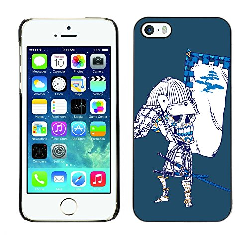 GIFT CHOICE / Mince Étui rigide Dur Housse de protection Slim Hard Protective Case SmartPhone Cover for iPhone 5 / 5S // Refroidir japonaise de crâne de sucre Samurai Bow Skeleton //