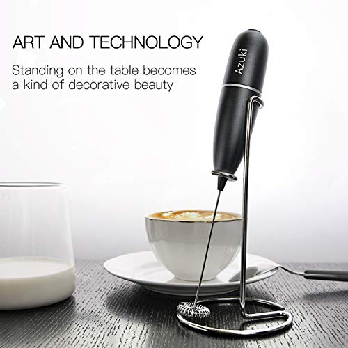 Azuki high - Powered Milk Frother Full Metal Handheld Foam Maker Machine for Latte eggbeaters, blender for bulletproof coffee, Cappuccino for mini coffee makers, Smoothies, Matcha, Hot Chocolate, shape by milk bullets - Large Bracket
