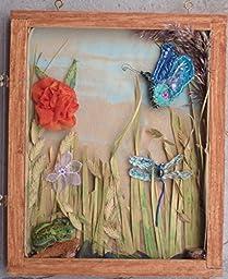 SALE Wetland Diorama Shadowbox of Handmade Flower Brooch, Dragon Fly Pin, Butterfly Brooch & Frog Brooch 11 3/4\