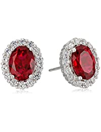 Rhodium Plated Sterling Silver Created Ruby 8x6mm and Created White Sapphire Oval Halo Earrings