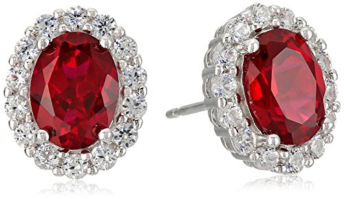 Sterling Silver Created Ruby and White Sapphire Halo Oval Stud Earrings