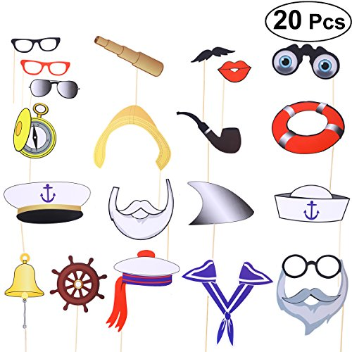 LUOEM Nautical Photo Booth Props Sailor Party Favors
