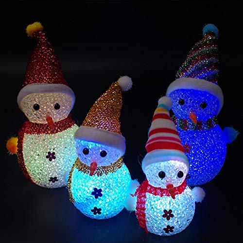 biuday 1 Pc LED Enciende el muñeco de Nieve, decoración navideña estatuilla acrílico decoración navideña, Colores al Azar