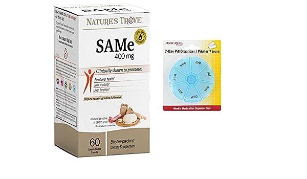 Amazon.com: SAM-e 400mg por el tesoro de la naturaleza - 60 comprimidos recubiertos entéricos con gratis 7 días plástico píldora organizadores: Health ...
