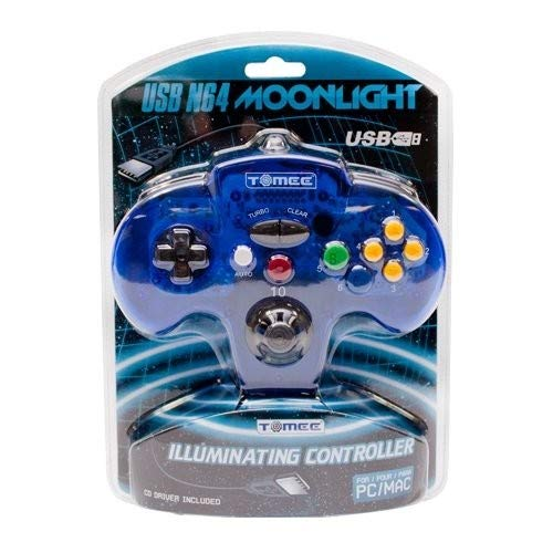 "Tomee ""Moonlight"" N64 USB Controller for PC/ Mac (Clear Blue)"