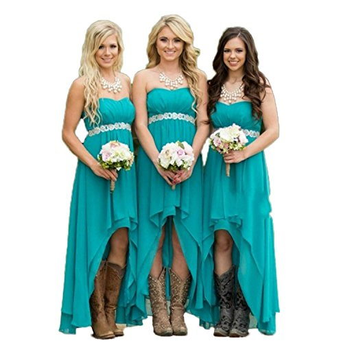Fanciest Women' Strapless High Low Bridesmaid Dresses Wedding Party Gowns Turquoise US2