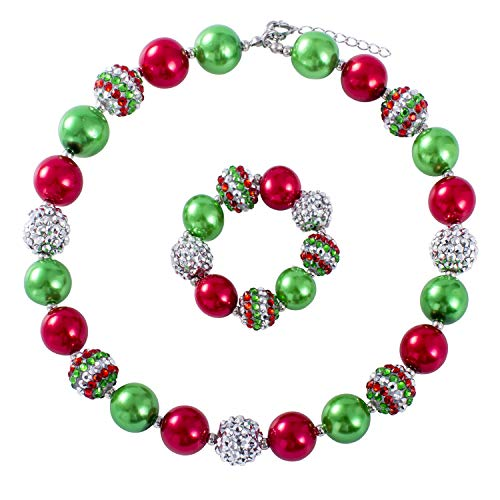 Bracelet Rhinestone Ponytail - Vinjewelry Christmas Red and Green Bubblegum Chunky Bead Necklace Gifts for Little Girls