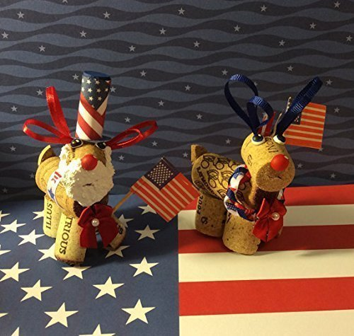 (Patriotic Wine Cork Reindeer July 4th Memorial Day Uncle Sam Décor Shelf)
