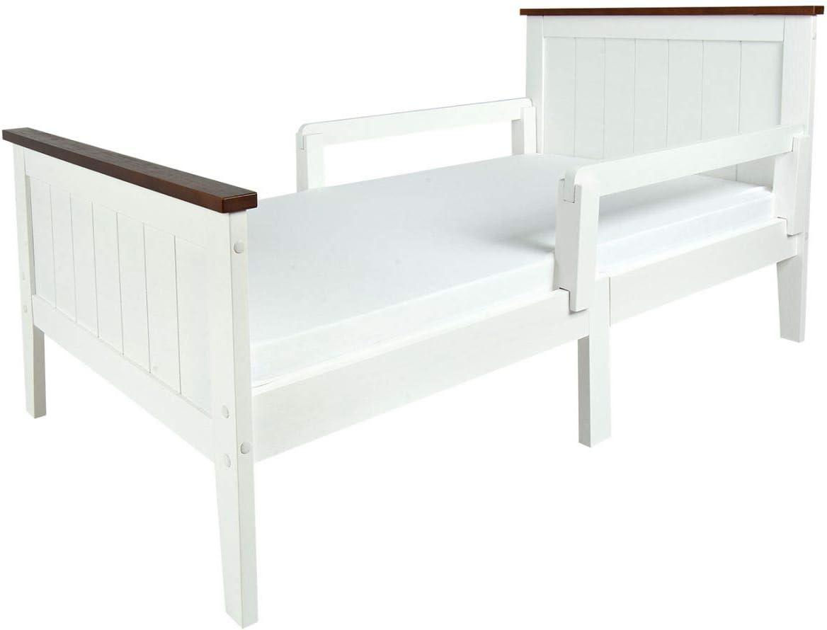Leomark Individual Cama Infantil de Madera - PARIS WALNUT - con barra de seguridad, colchón, Somier, para niños, color blanco, moderno y elegante ...