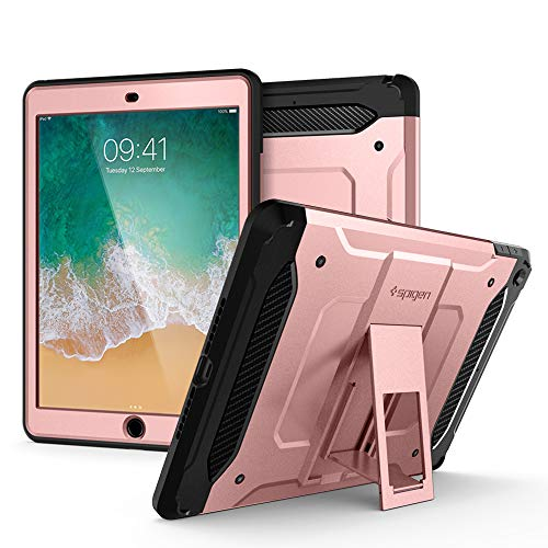 (Spigen Tough Armor TECH with Custom-Fit Tempered Glass Designed for iPad 9.7 Case iPad Case (2017/2018) - Rose Gold )