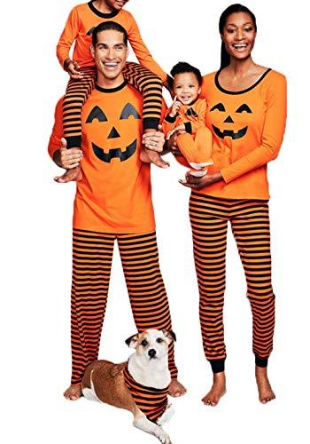 Halloween Pajamas For Women (Men Women Halloween Sleepwear Set Pumpkin Family Matching Pajamas Set T-Shirt Tops Clothing Set (L,)